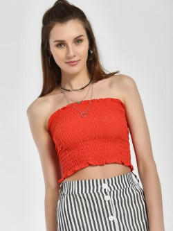 New Look Shirred Crop Bandeau Top