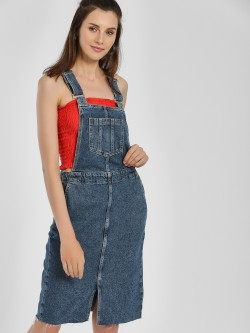 New Look Denim Pinafore Midi Dress