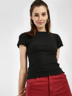 New Look Ribbed Frill Trim T-Shirt