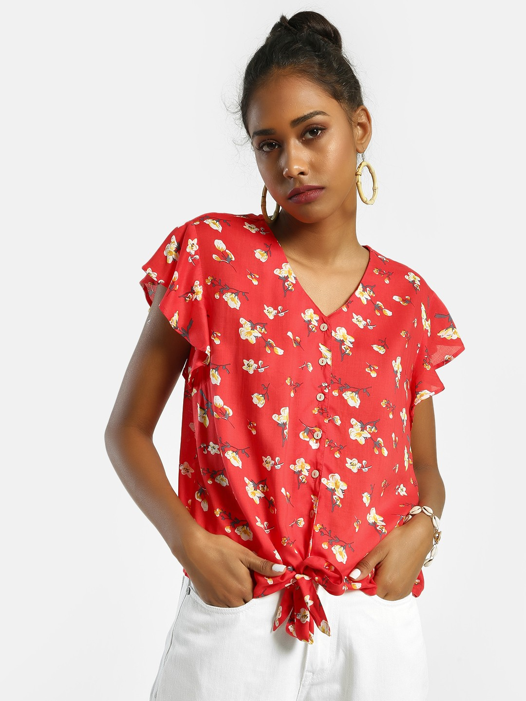 Lee Cooper Red Floral Print Tie-Knot Blouse 1