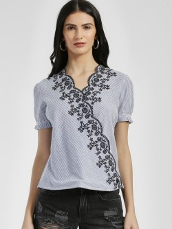 Lee Cooper Stripe Broderie Wrap Blouse