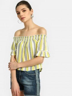 Lee Cooper Stripe Flared Off-Shoulder Top