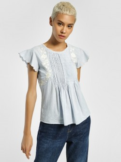 Lee Cooper Floral Embroidered Stripe Blouse