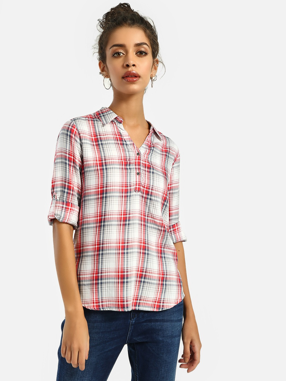 Lee Cooper Red Half-Placket Checked Shirt 1