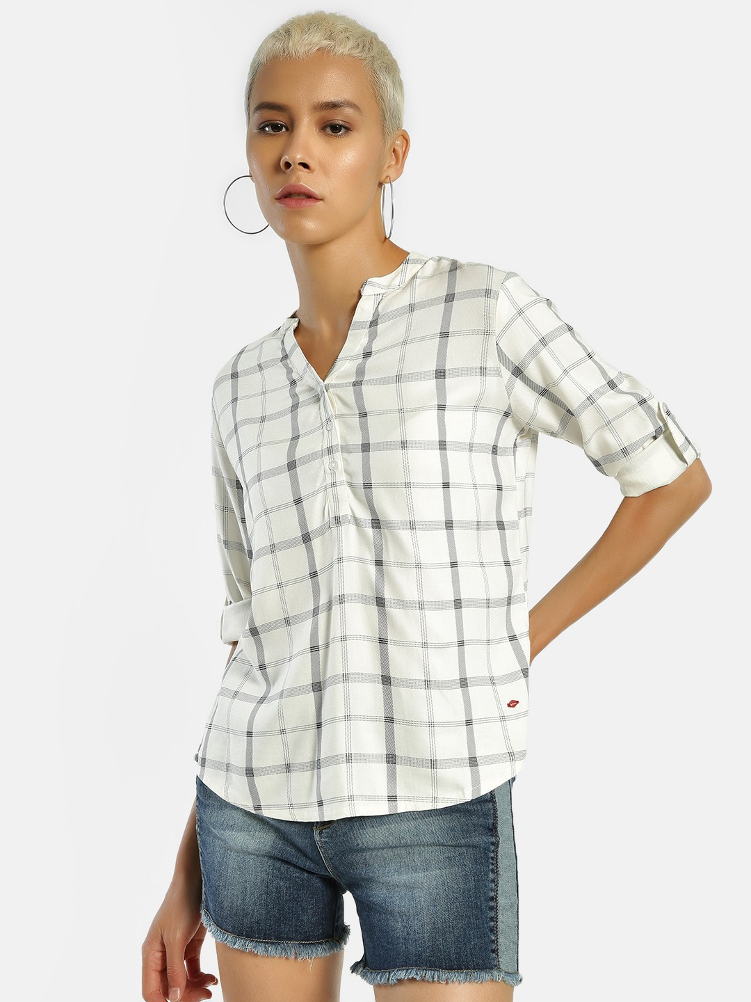 Lee Cooper White Half-Placket Checked Shirt 1