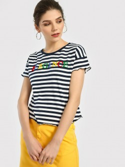 Lee Cooper Velour Elegance Embossed Striped T-Shirt