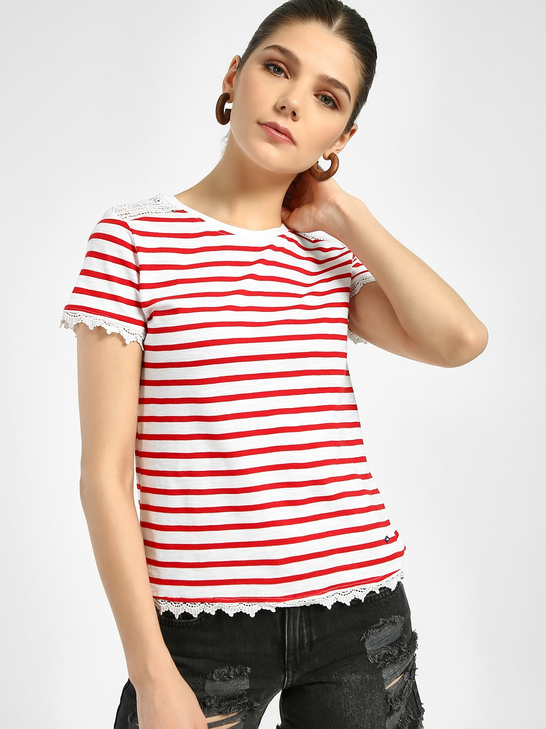 Lee Cooper Red Lace Detail Stripe T-Shirt 1