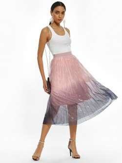 Origami Lily Ombre Shimmer Mesh Pleated Midi Skirt