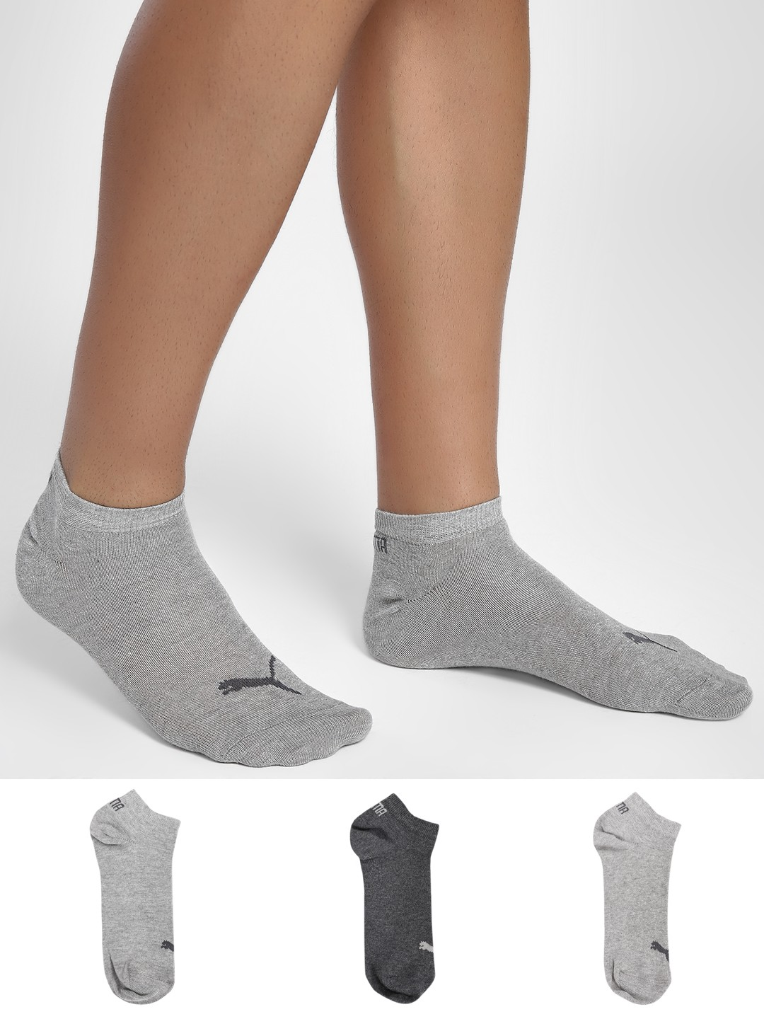 Puma Multi Unisex Sneaker Plain Socks (Pack Of 3) 1
