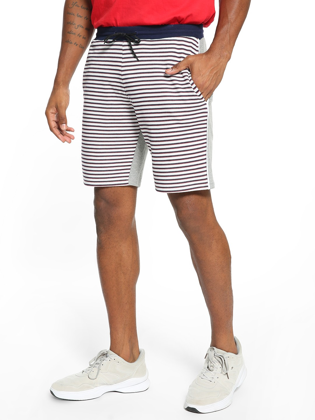 KOOVS Multi Front Horizontal Stripe Sweat Shorts 1