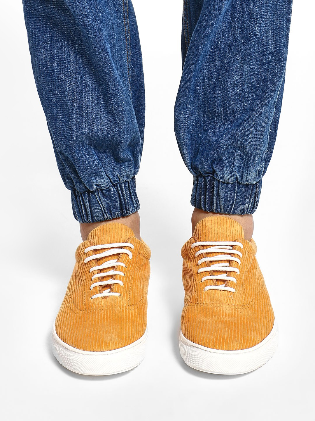 KOOVS Yellow Basic Corduroy Lace-Up Sneakers 1