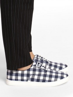 KOOVS Checkered Knitted Lace-Up Sneakers