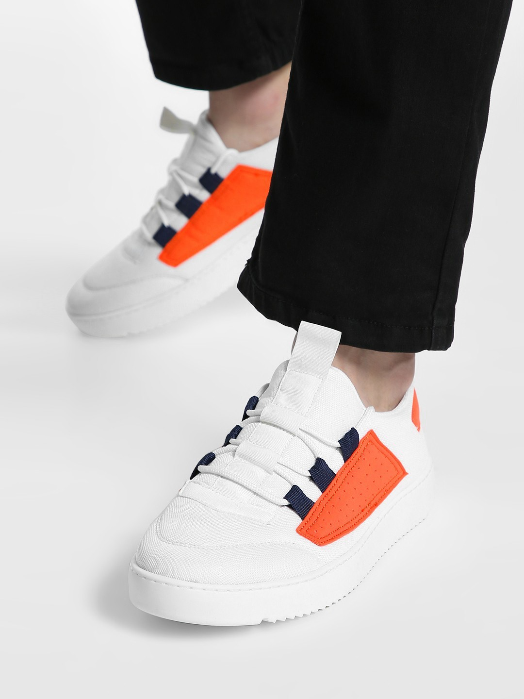 KOOVS White Contrast Perforated Patch Sneakers 1