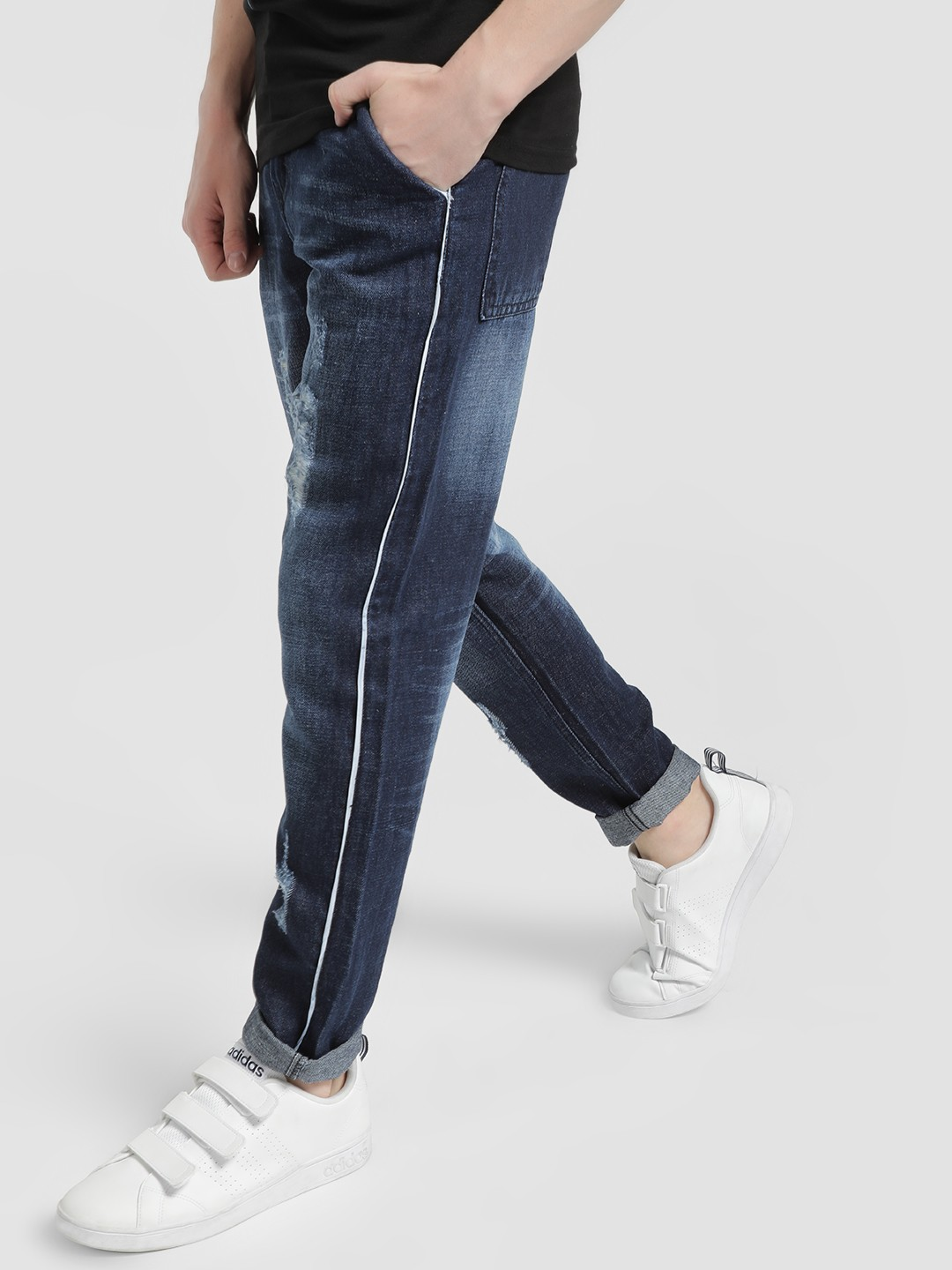 REALM Blue Mid-Wash Distressed Side Piping Slim Jeans 1