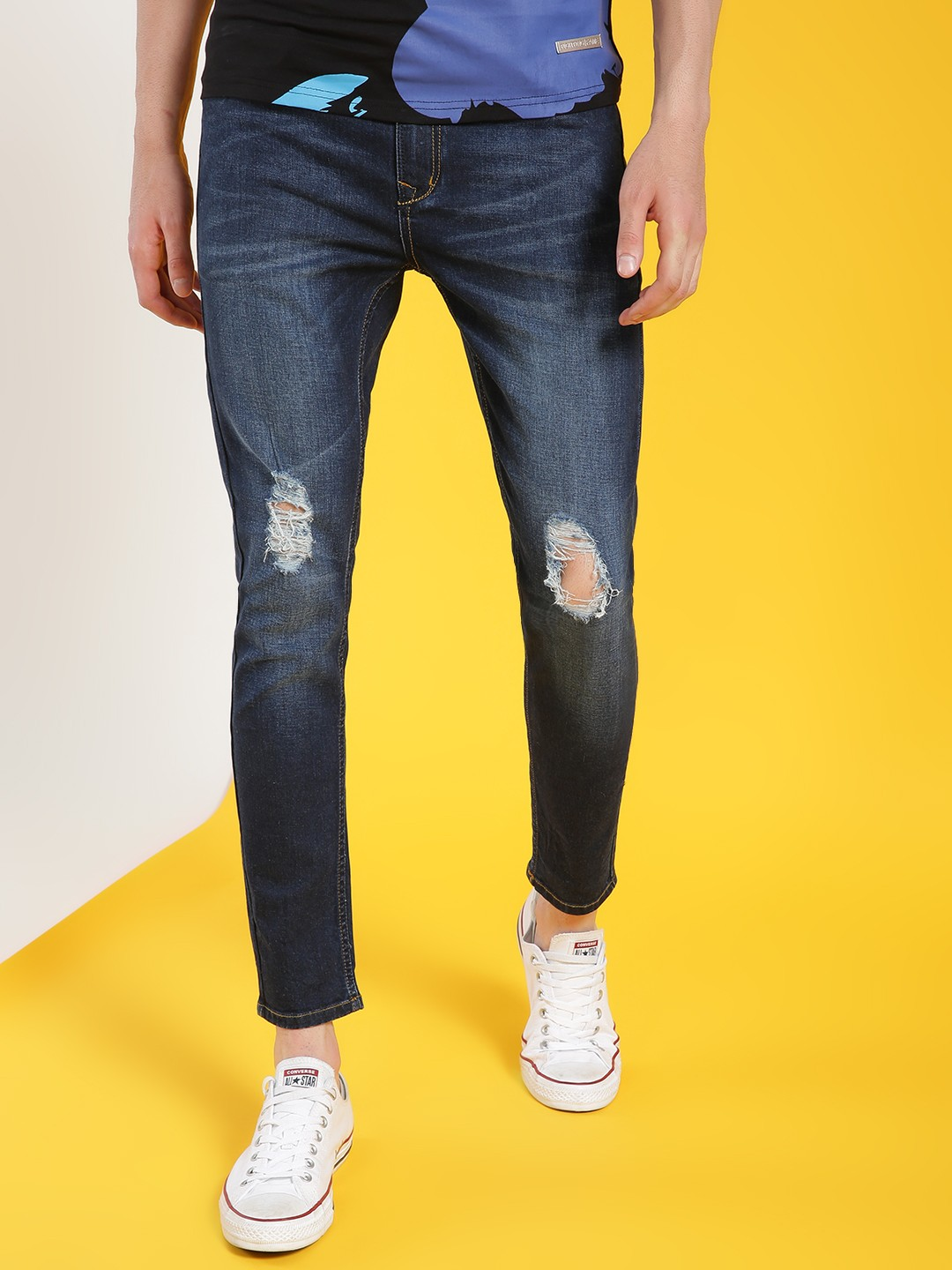 REALM Blue Mid-Wash Distressed Skinny Jeans 1