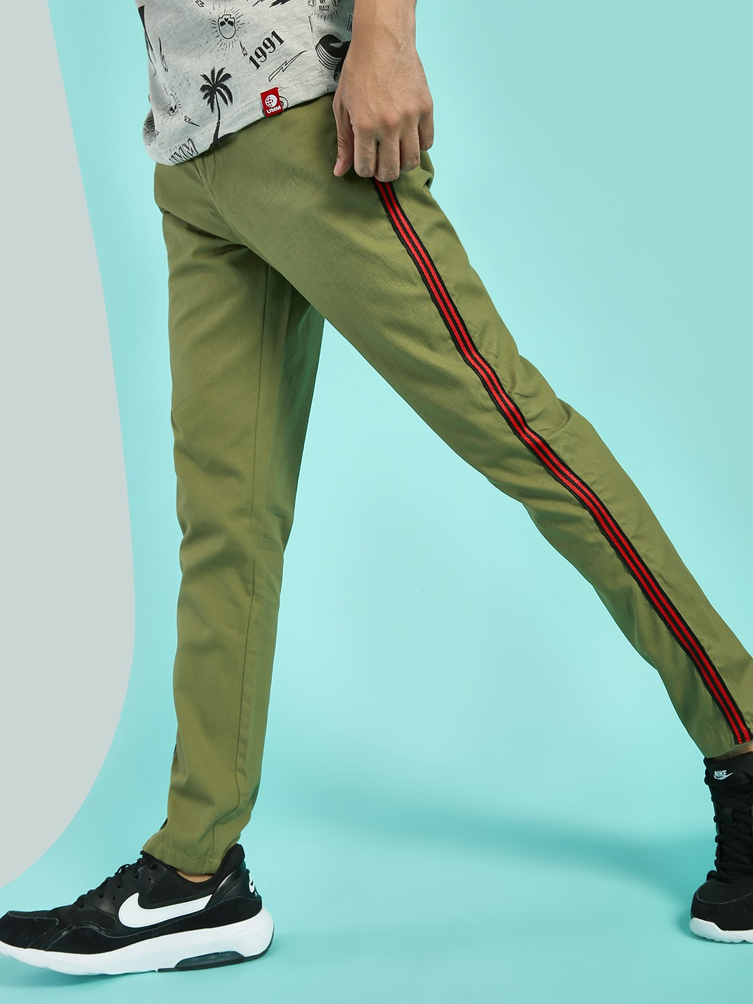 REALM Green Contrast Side Tape Woven Trousers 1