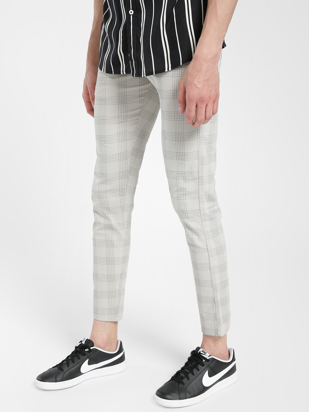 AMON Beige Windowpane Check Slim Trousers 1