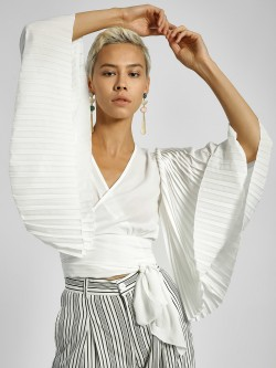 Ri-Dress Pleated Sleeves Wrap Crop Top