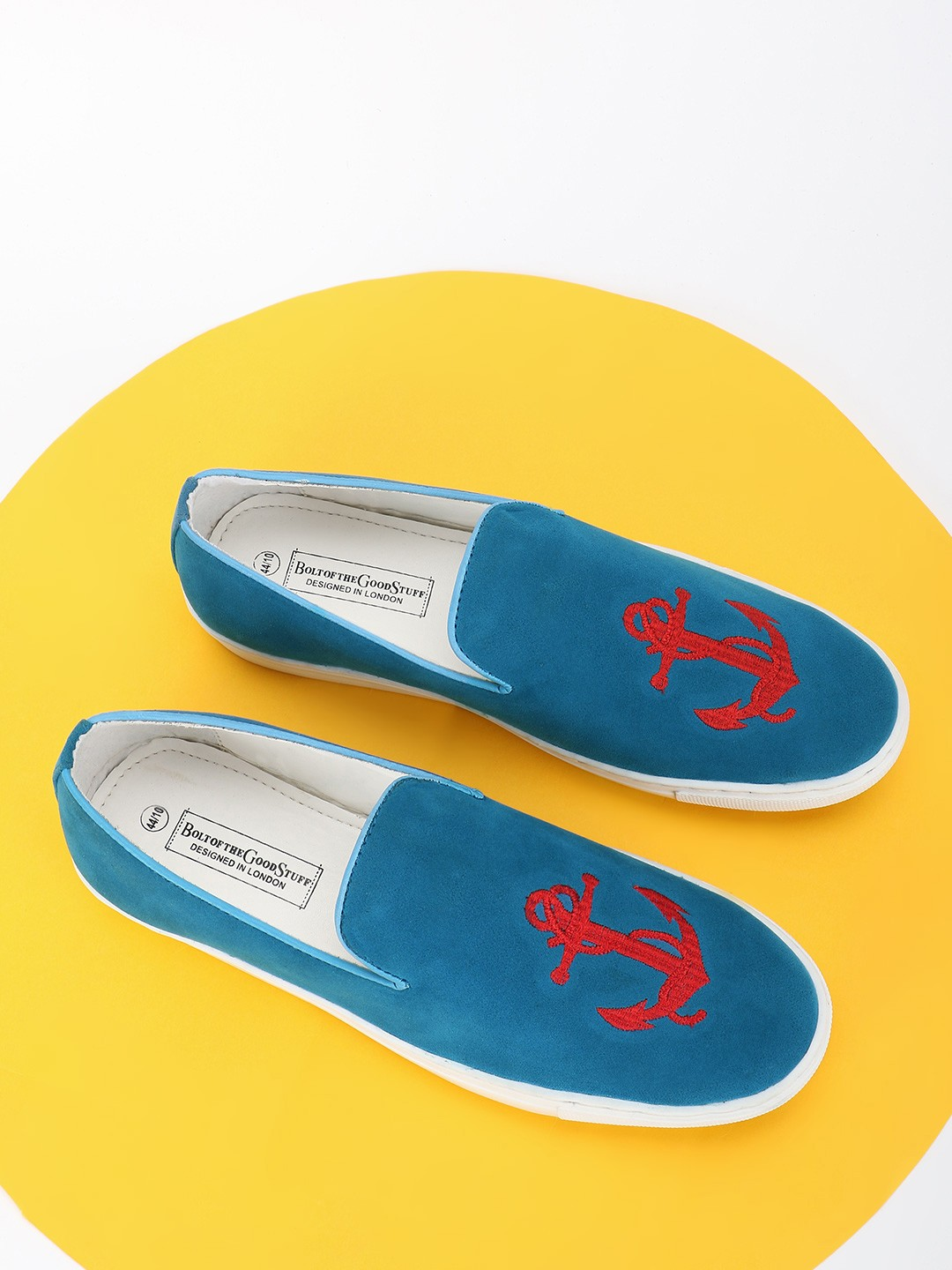 Bolt Of The Good Stuff Blue Sailor Embroidered Suede Slip-On Shoes 1
