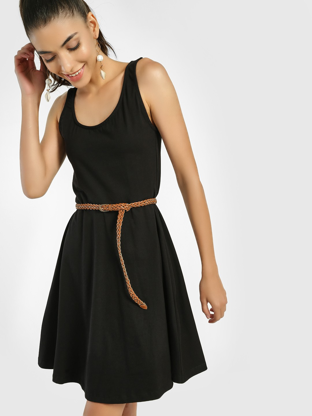 KOOVS Black Scoop Neck Skater Dress 1