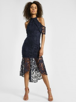 Quiz Crochet Lace Cold Shoulder Midi Dress
