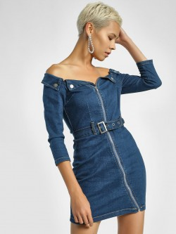 Quiz Off-Shoulder Belted Denim Dress