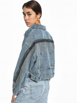 K Denim KOOVS Stonewash Fringe Detail Denim Jacket
