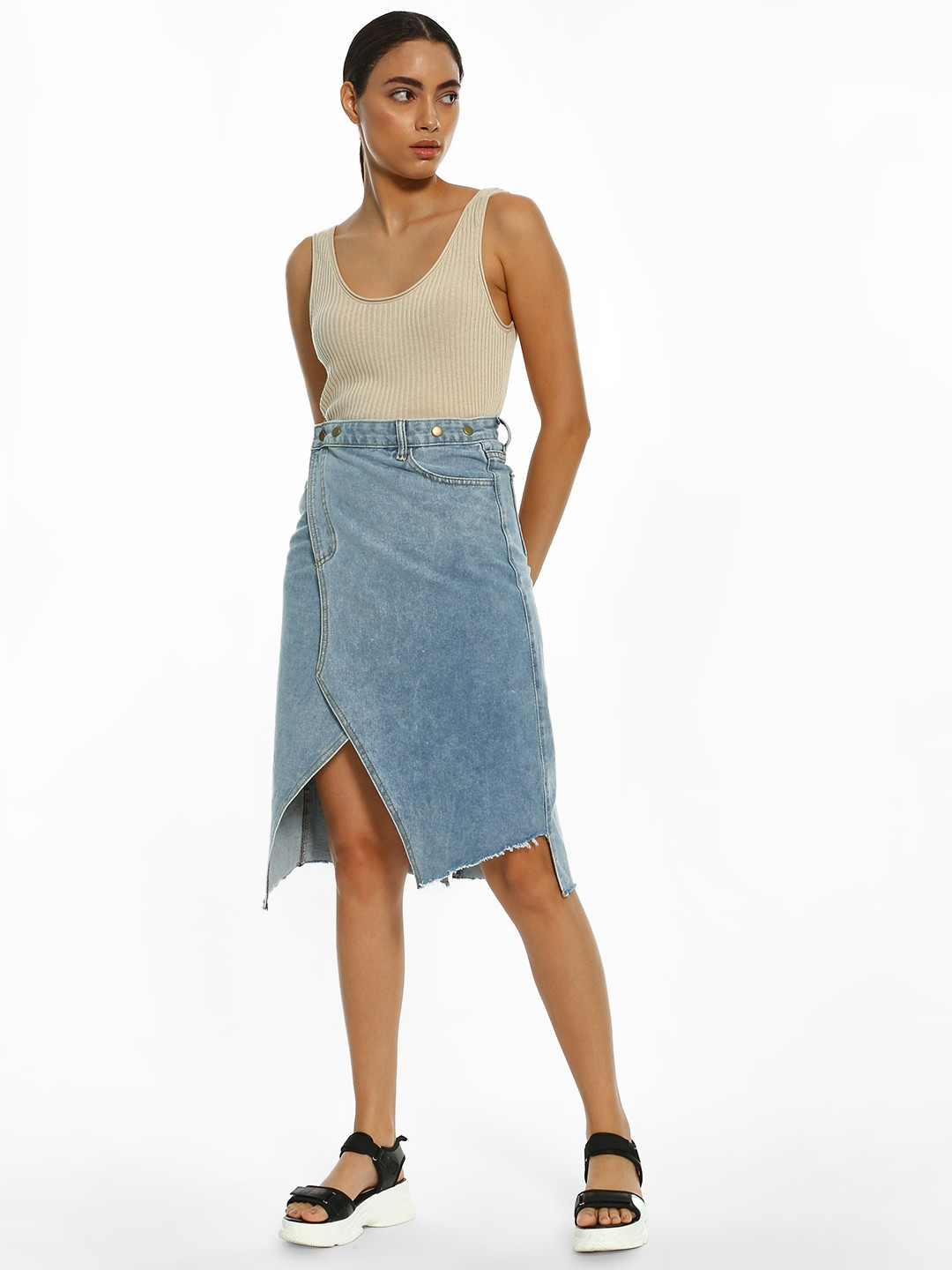 K Denim Blue KOOVS Wrap Front Denim Midi Skirt 1