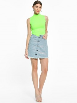 K Denim KOOVS Diamante Embellished Button-Front Denim Skirt