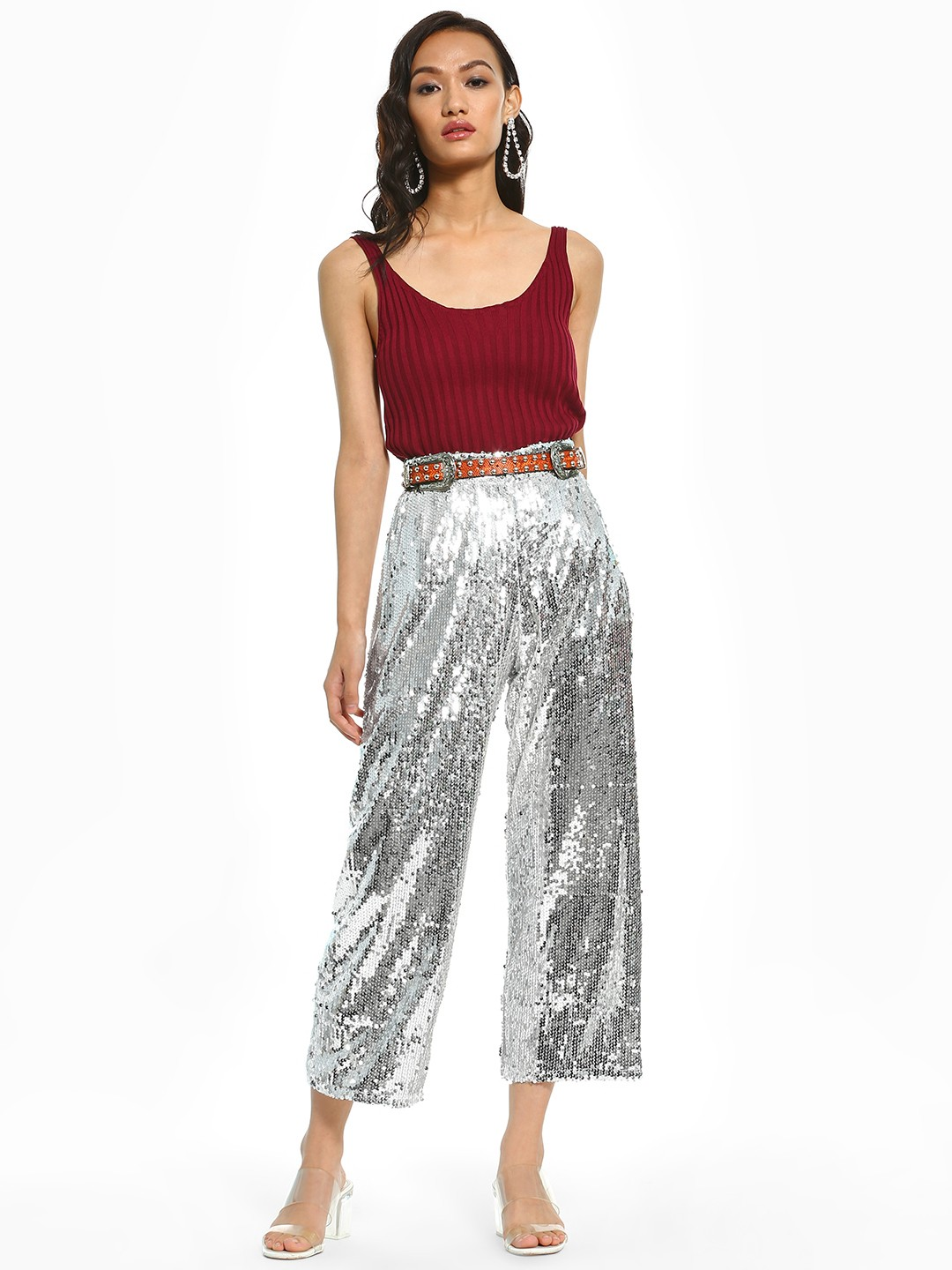 KOOVS Silver Sequinned Wide Leg Cropped Trousers 1