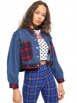 K Denim KOOVS Dark Wash Check Patch Jacket