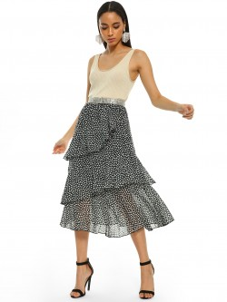 KOOVS Printed Tiered Midi Skirt