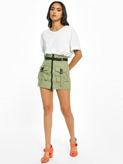 KOOVS Extended Tape Mini Skirt