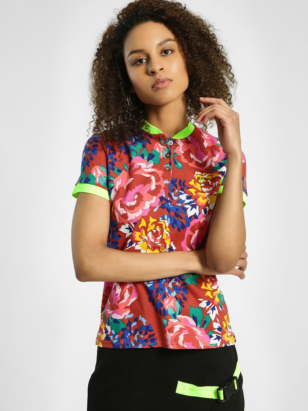 United Colors of Benetton Multi Floral Print Pique Polo T-Shirt 1