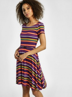 United Colors of Benetton Stripe Print Skater Dress