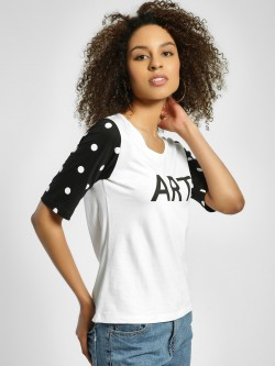 United Colors of Benetton Art Print Polka Dot Sleeve T-Shirt