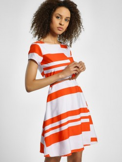 United Colors of Benetton Color Block Panel Skater Dress