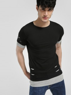 Kultprit Distressed Layered Hem Slim T-Shirt