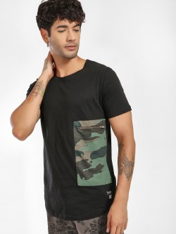 Kultprit Camo Patch Curved Hem T-Shirt