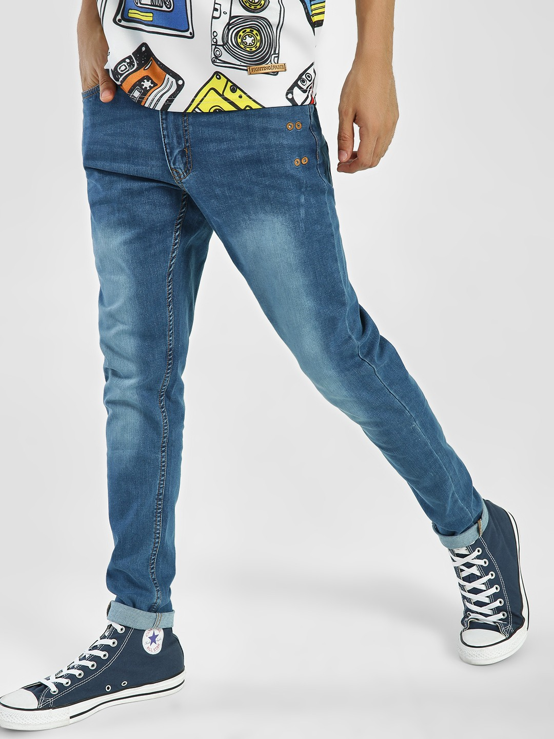 Kultprit Blue Light Wash Slim Jeans 1