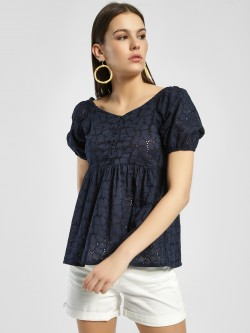 Rena Love Broderie Puff Sleeve Blouse