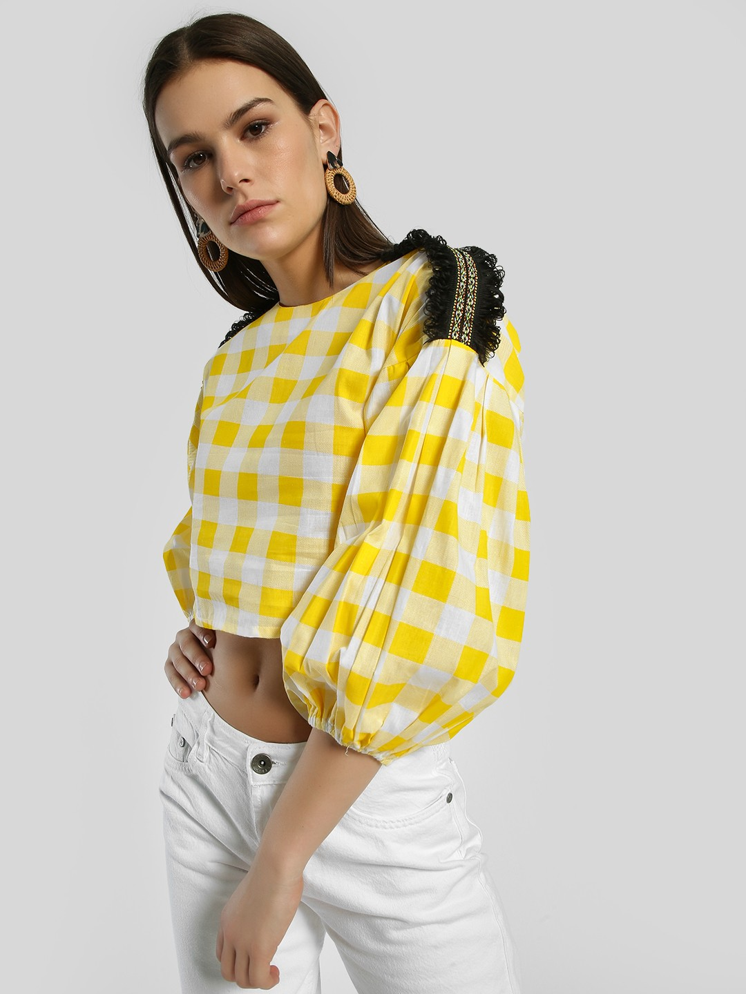 Rena Love Multi Gingham Check Embroidered Patch Crop Top 1