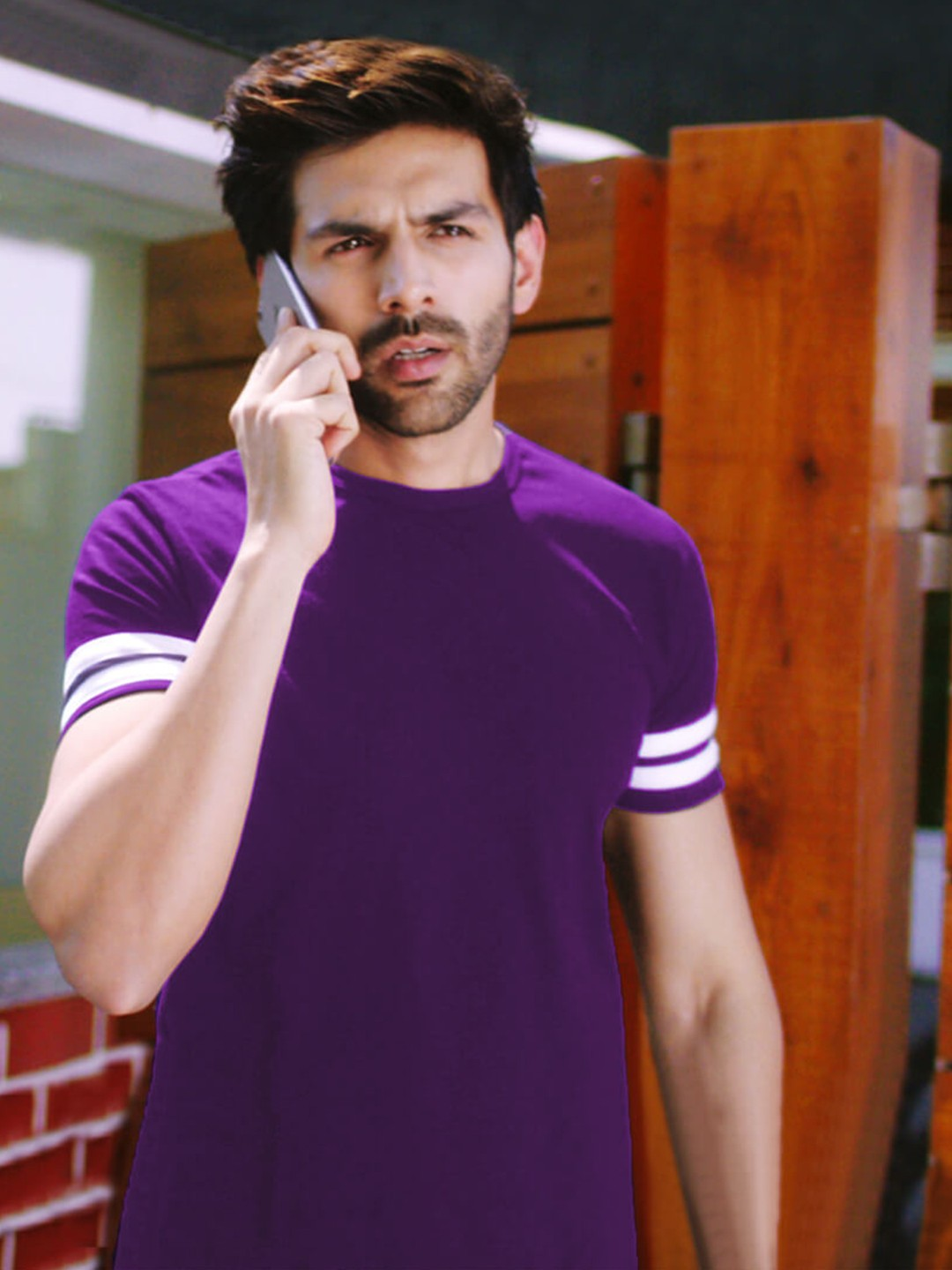 Bollywoo Purple In The Style Of Kartik Aryan Striped T-Shirt 1