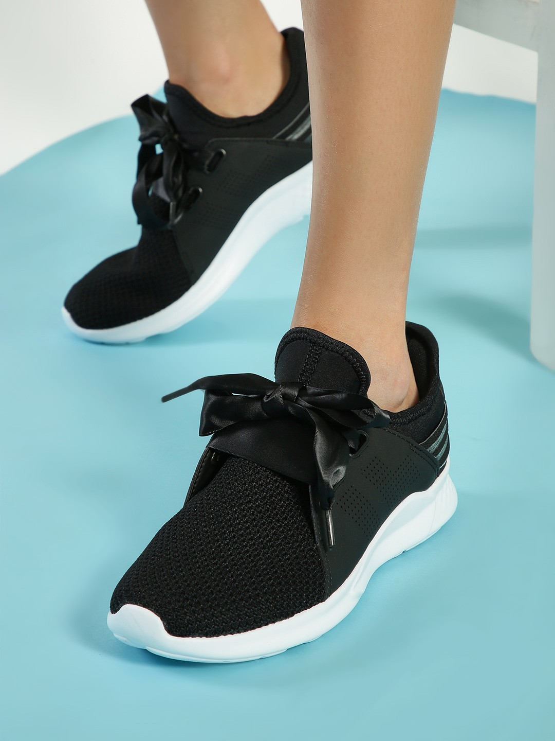 361 Degree Black Mesh Knitted Lace-Up Trainers 1