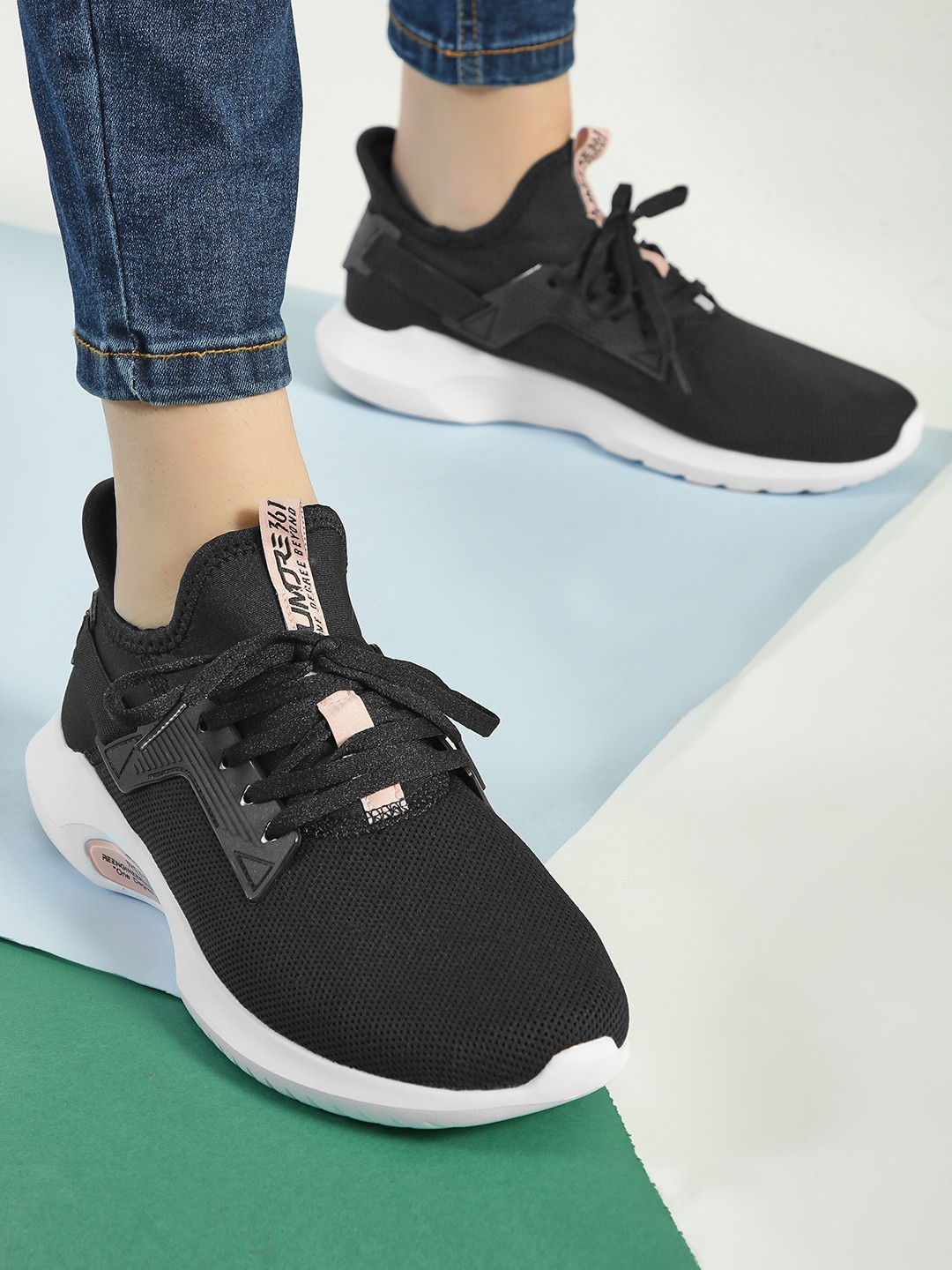 361 Degree Black Knitted Lace-Up Trainers 1