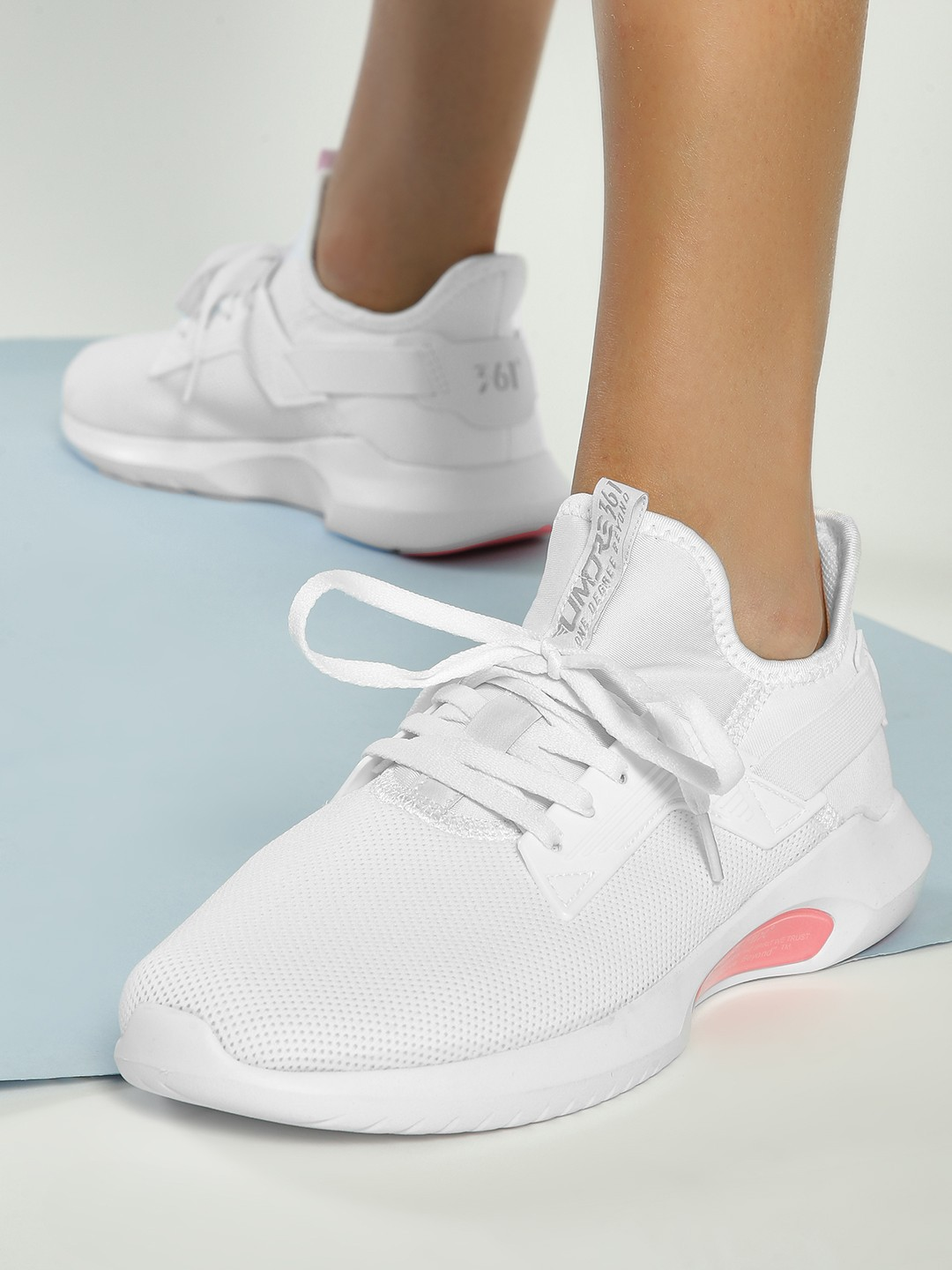 361 Degree White Knitted Lace-Up Trainers 1