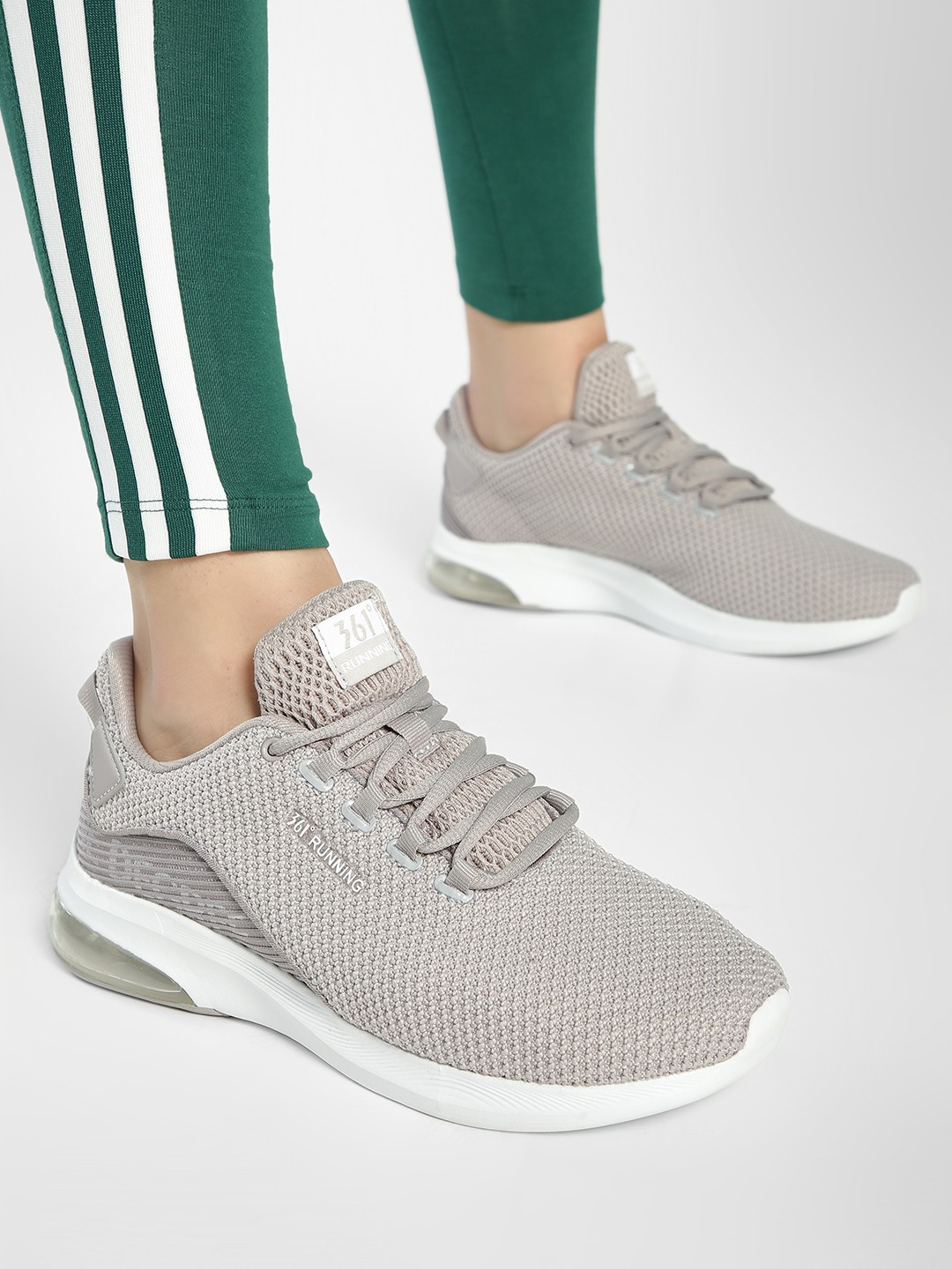 361 Degree Grey Knitted Lace-Up Trainers 1