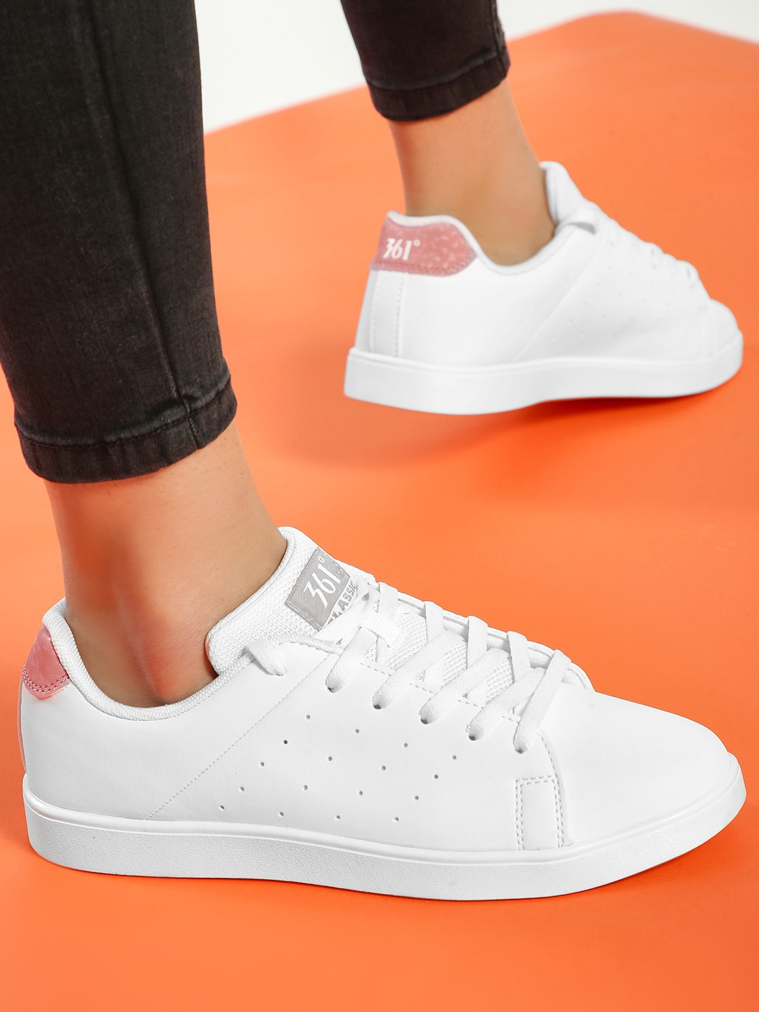361 Degree White Perforated Side Lace-Up Sneakers 1