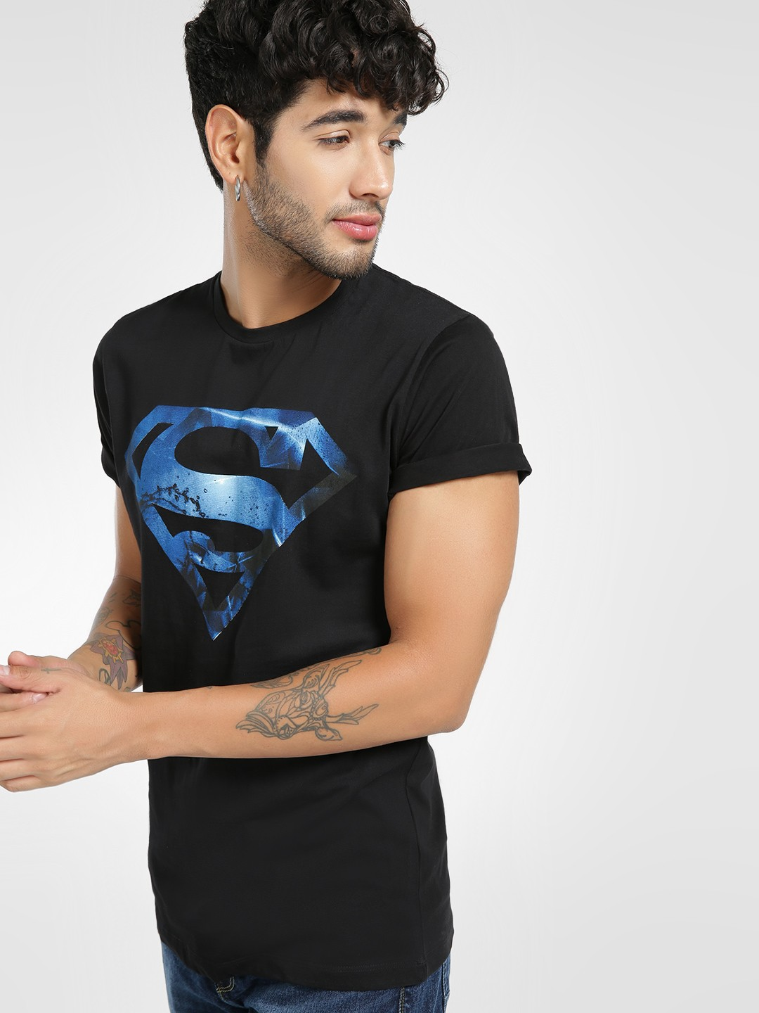 Free Authority Black Superman Logo Print T-Shirt 1