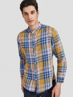 Spring Break Check Dot Print Grandad Collar Shirt